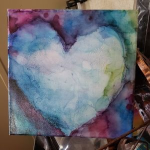 "8x8 painting "" paper heart"""